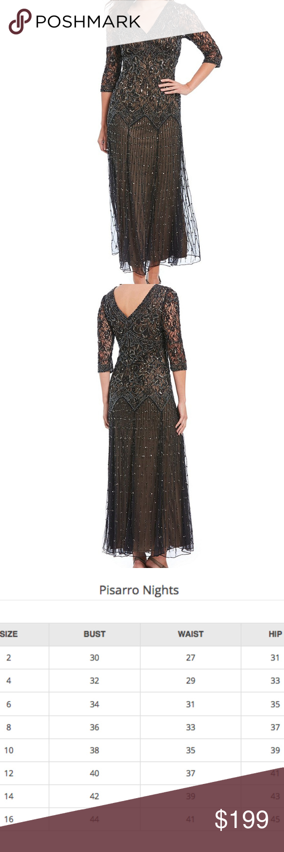 NWOT Pisarro Nights Beaded V-Neck gown dress | My Posh Closet ...