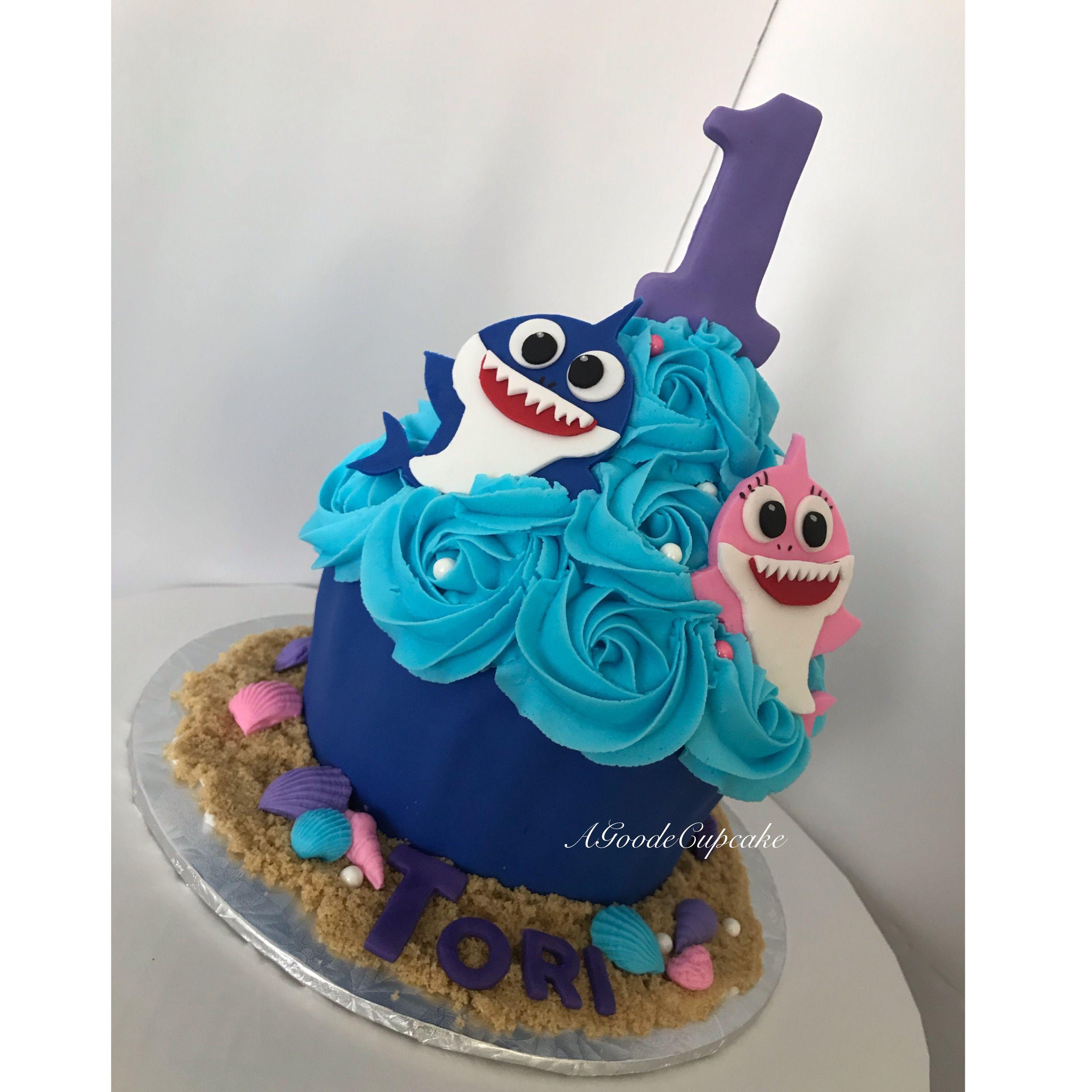 Baby Shark Cake Big Cupcake Big Cupcake Shark Birthday Cakes
