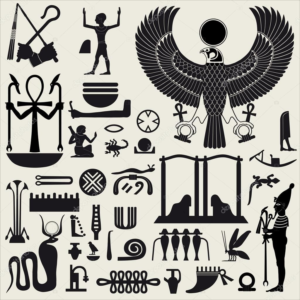 Ancient egyptian symbols and signsllection of different ancient egyptian symbols and signsllection of different silhouettes buycottarizona