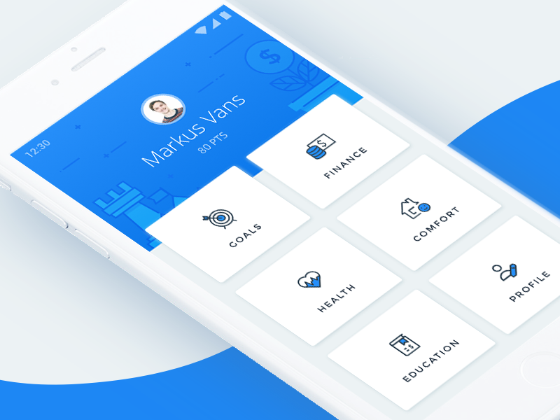Hub navigation screen Android app design, Android design