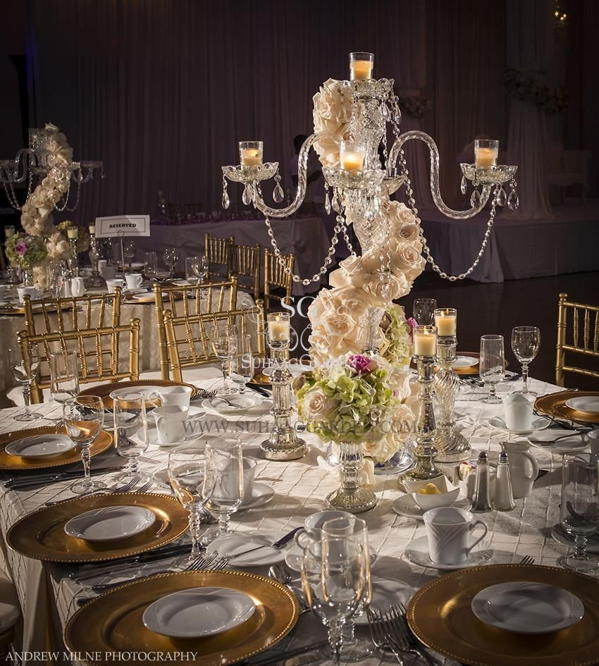Flowers For A Wedding Reception: Candelabra Wedding Centerpiece With Flowers