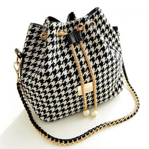 Stylish Houndstooth and Chains Design Women s Shoulder Bag edb47b22e8e80