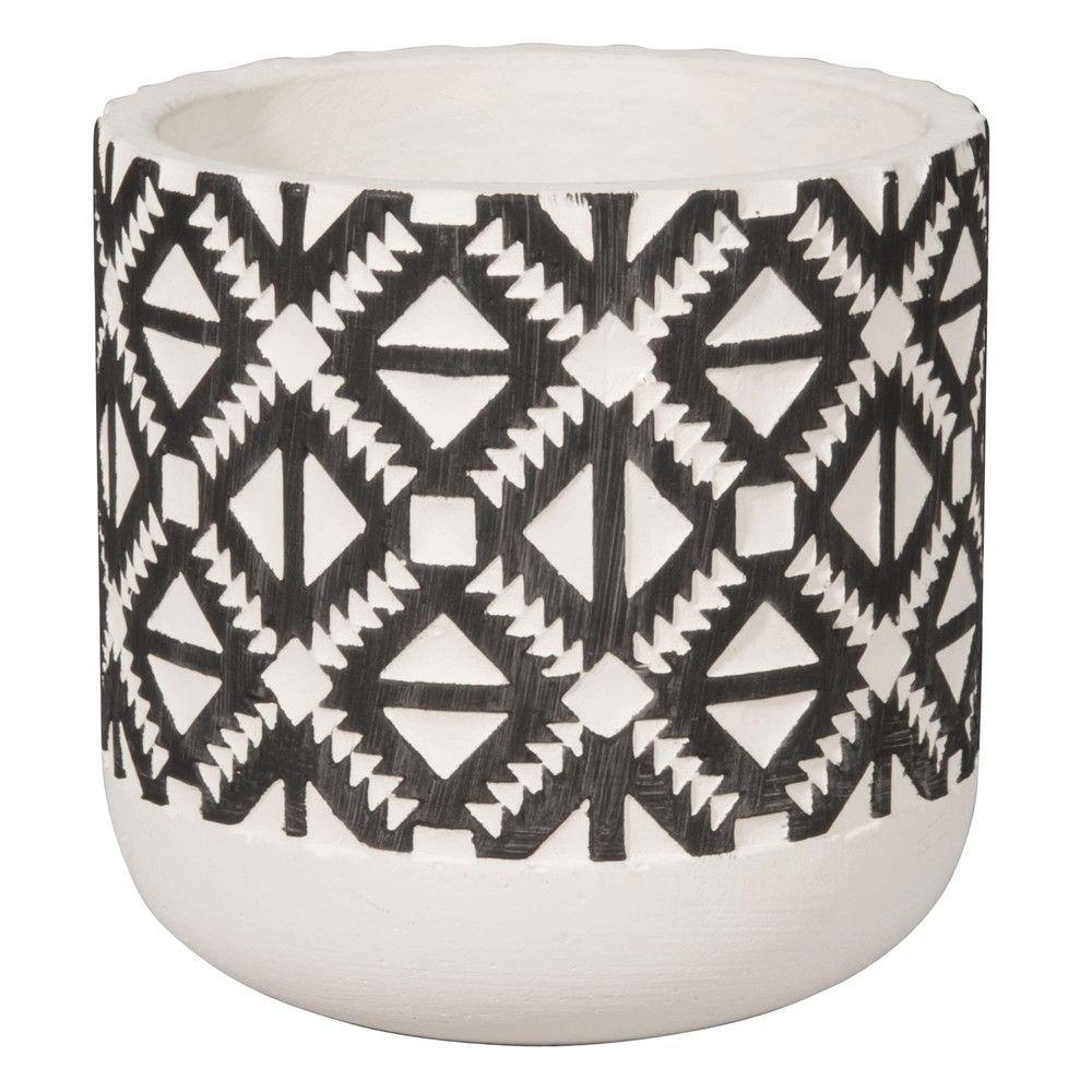 cache pot en c ramique motifs ethniques h13 maisons du. Black Bedroom Furniture Sets. Home Design Ideas
