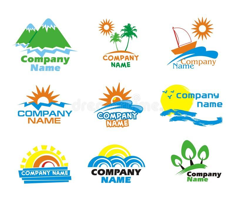 Tourism and vacation icons and logo design. Collection of colorful tourism and v ,
