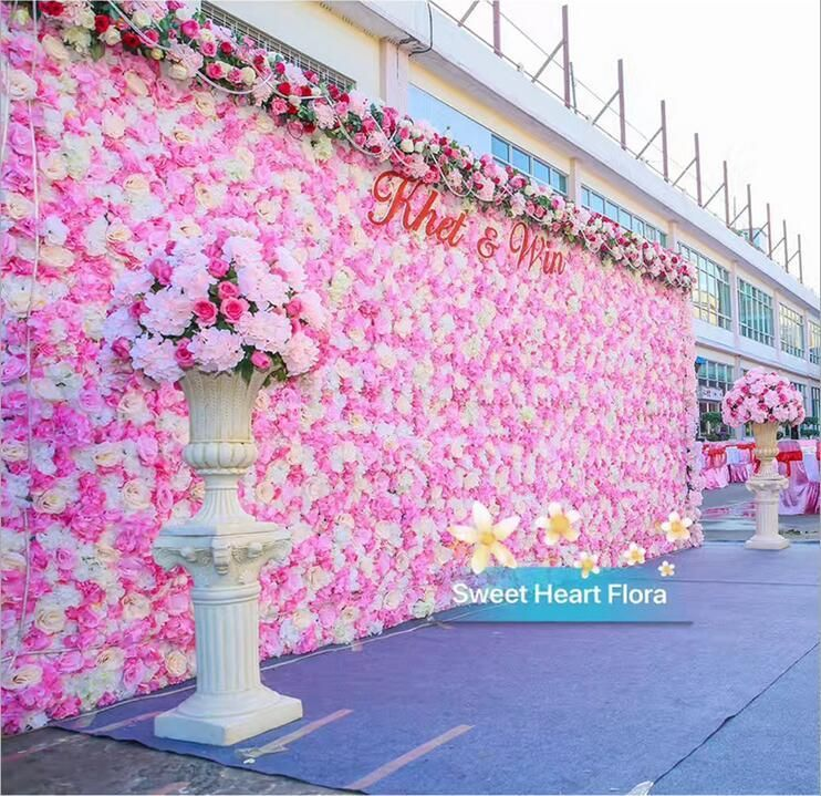 60x40cm Romantic Artificial Rose Hydrangea Flower Wall For Wedding Party Stage And Backdrop De Flower Wall Wedding Flower Backdrop Wedding Pink Wedding Flowers