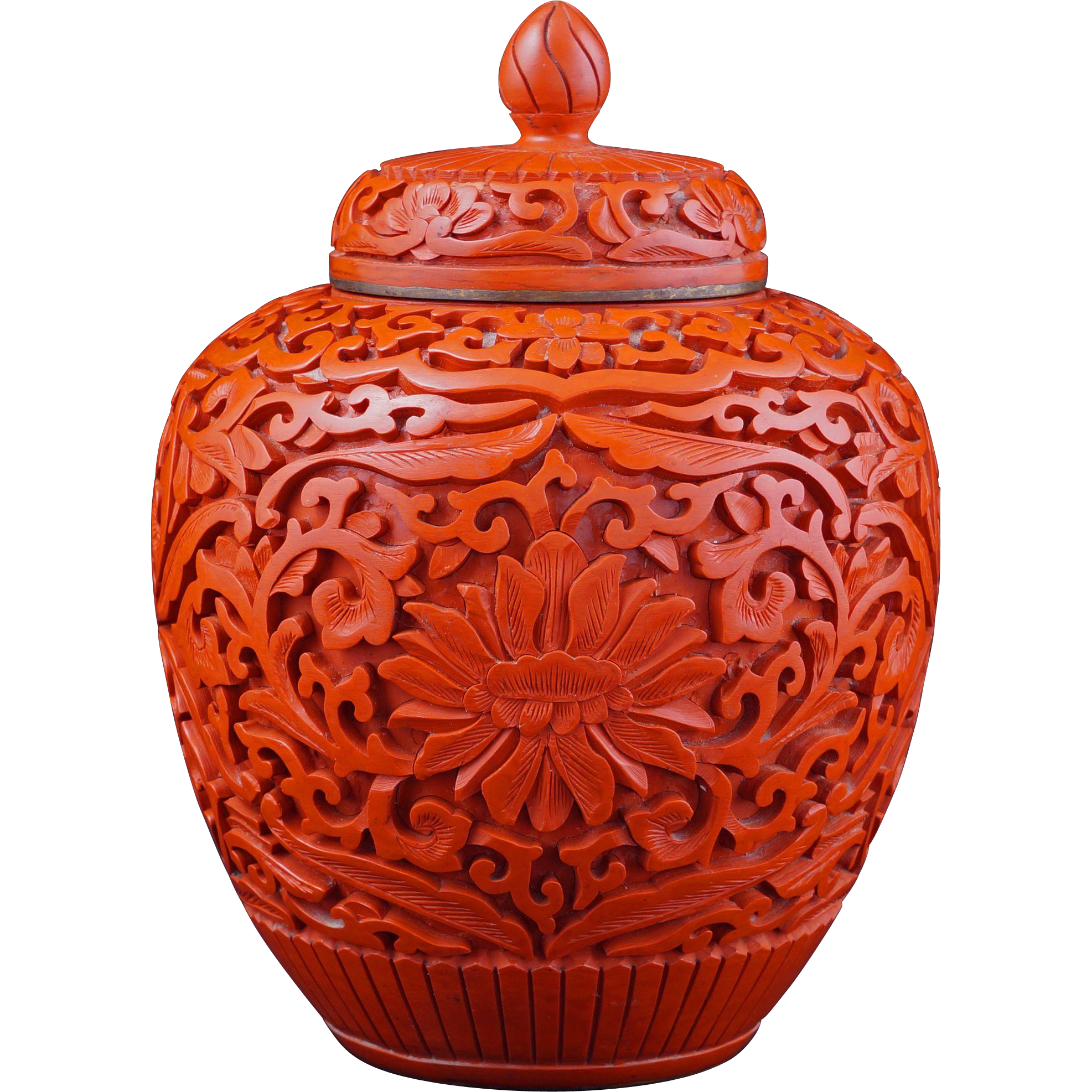 chinese cinnabar lacquer ginger jar with lid circa 1900. Black Bedroom Furniture Sets. Home Design Ideas