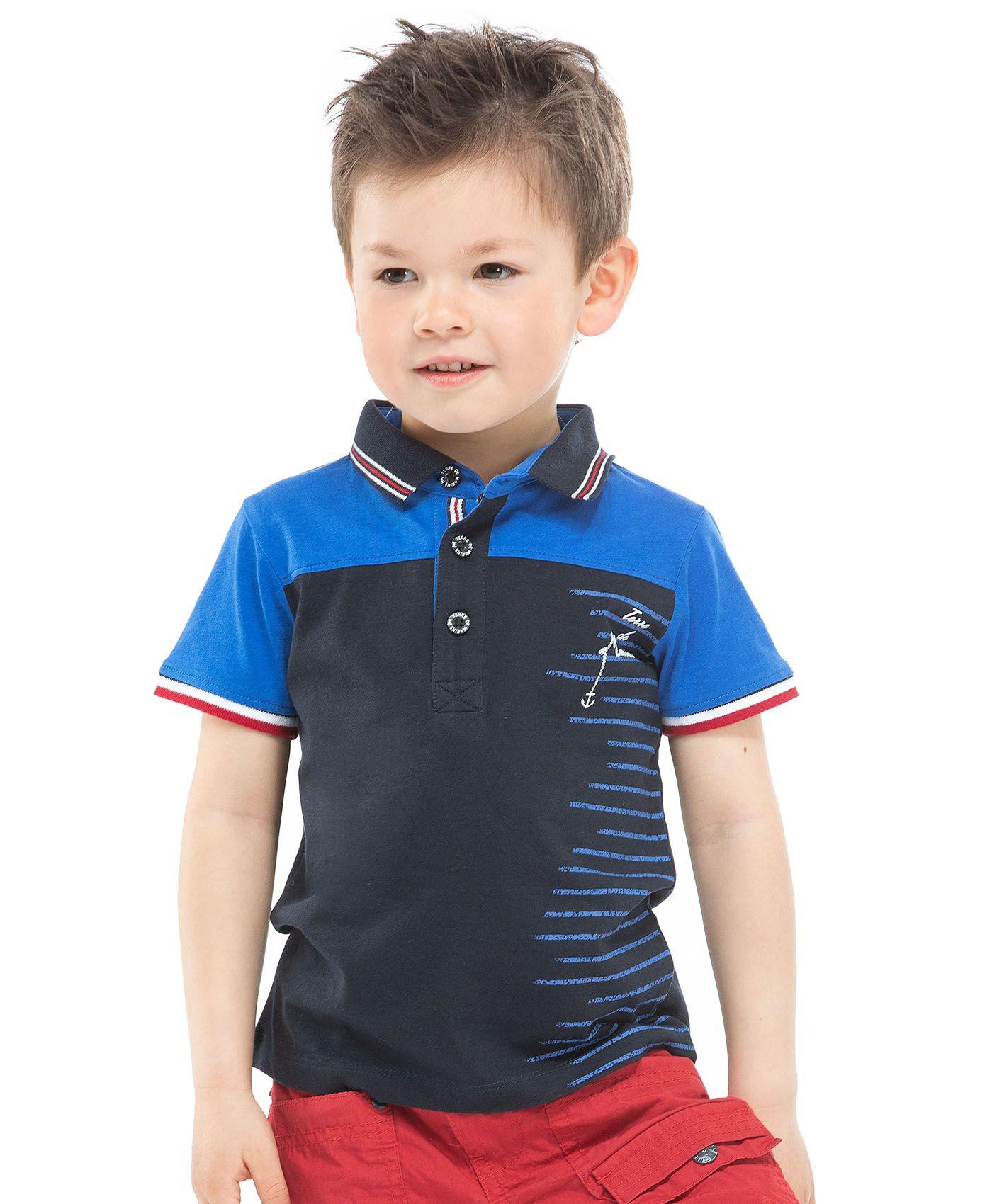 e37a5b2a3800c Shirts · Fashion · Polo bicolore bleu marine et turquoise pour garçon  Manches courtes cernées tricolores Fermeture trois boutons et