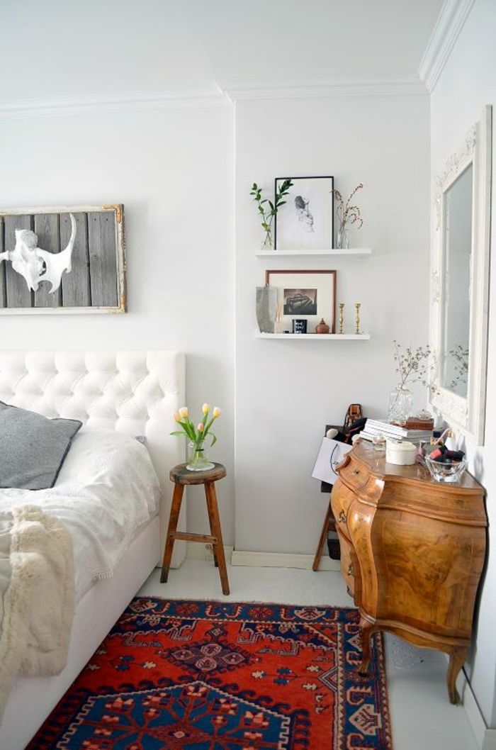 vintage teppiche schlafzimmer farbiger teppich weiße wandfarbe - teppich im schlafzimmer