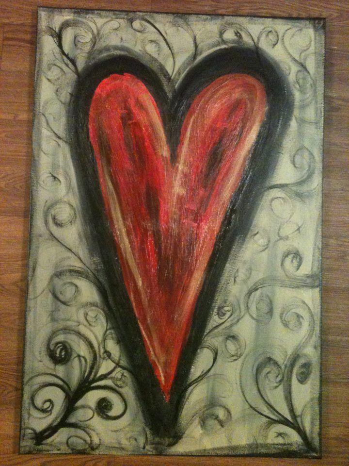Painted Heart Canvas Malerier Projekter Tegn