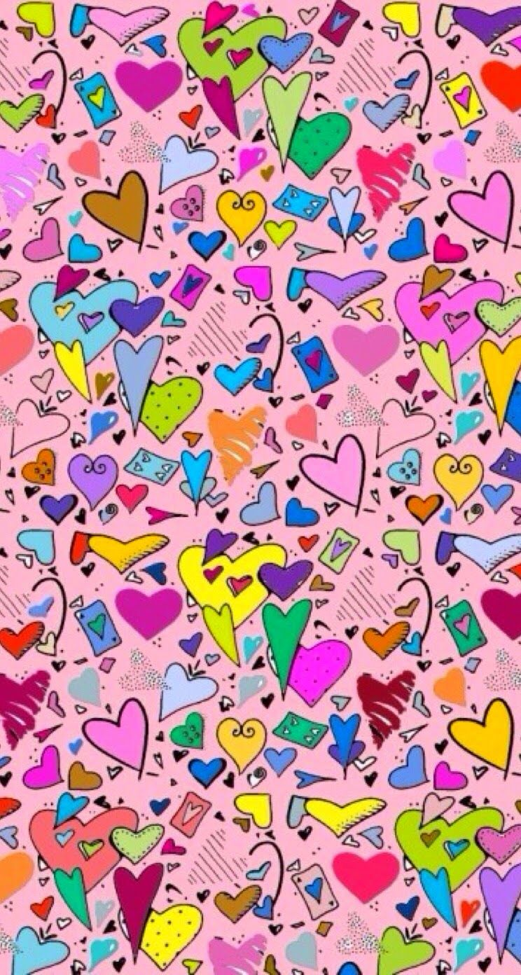 Cute Colorful Hearts Wallpaper Iphone