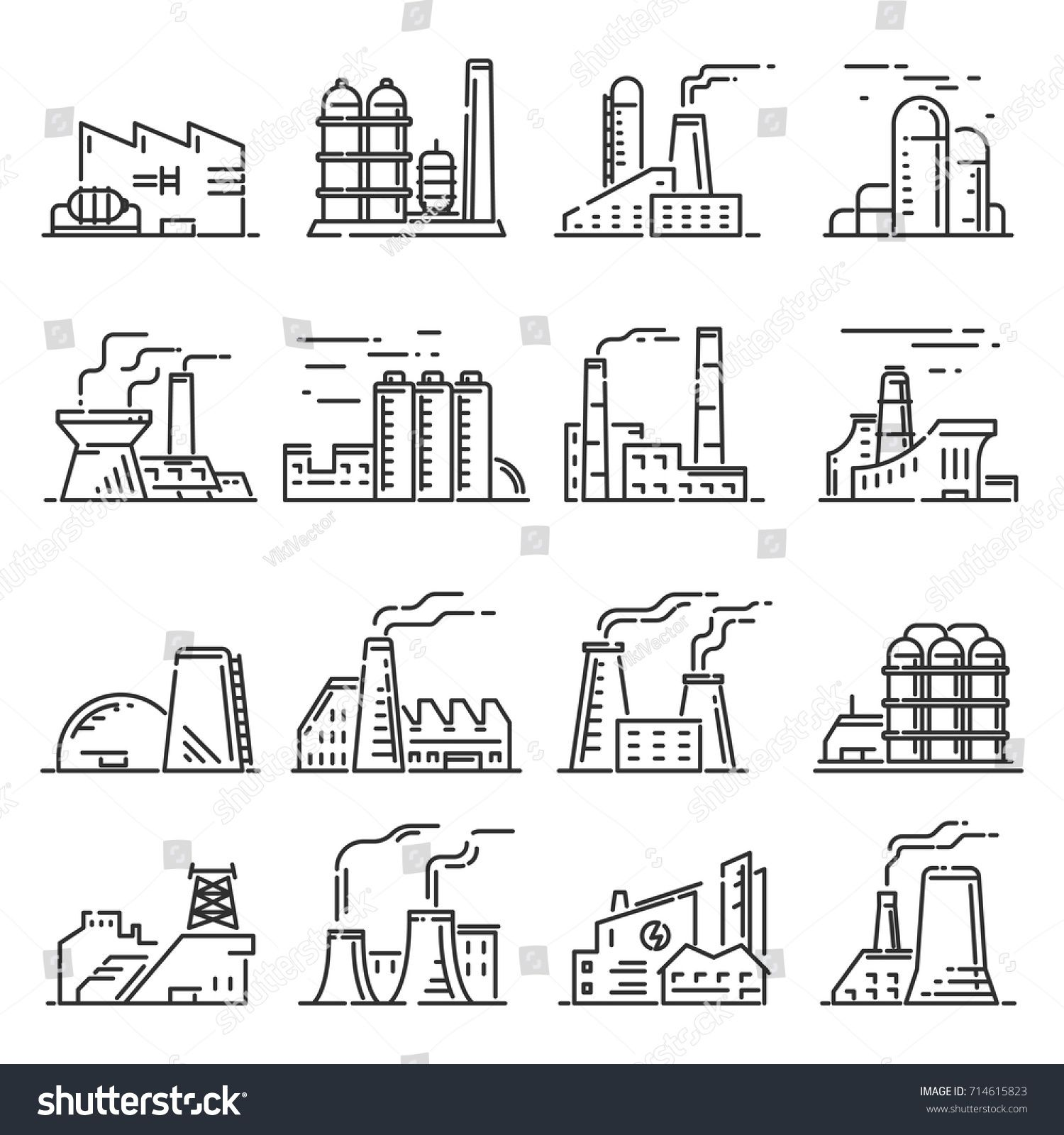 Factory Building Outline Set Steel Construction Of Metal Industrial And Commercial Architecture Factory Icon Building Icon Factory Icon Factory Architecture