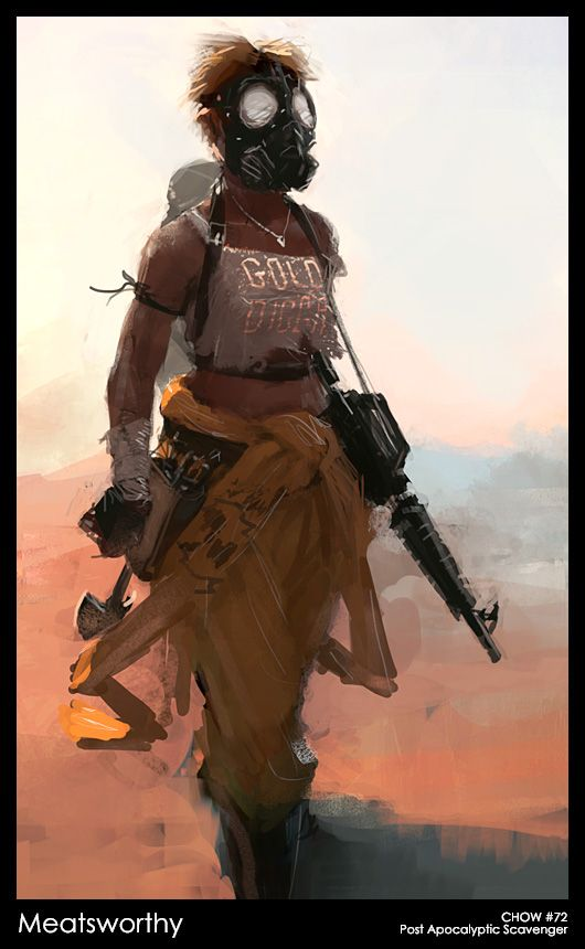 Costume + Character - Awesome apocalyptic lady, with guns, belts and half a bright orange jumpsuit.