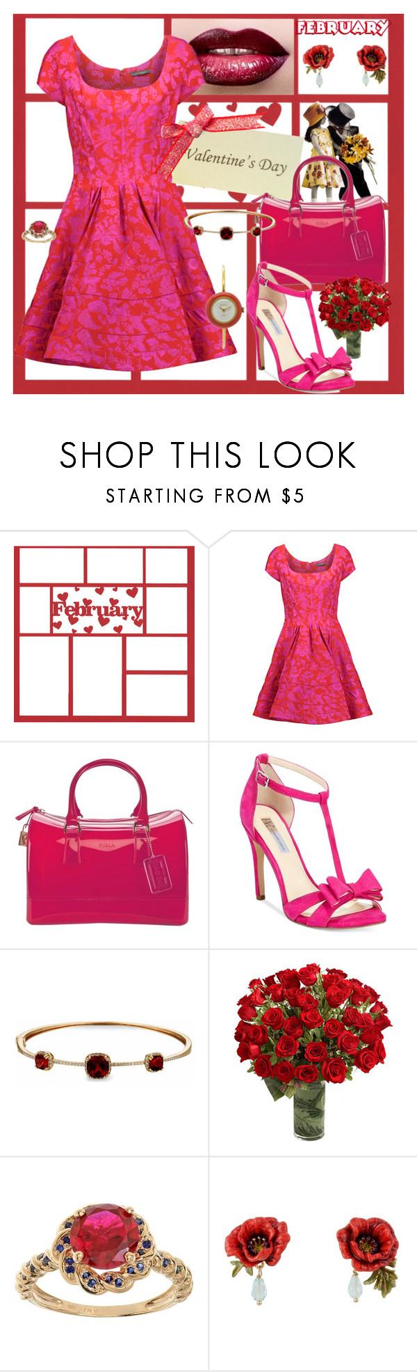 """Zac Posen Valentine's day Dress"" by stephaniedsmigo ❤ liked on Polyvore featuring Zac Posen, Furla, INC International Concepts, Dabakarov, Les Néréides and Gucci"