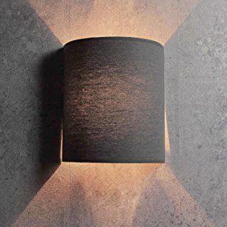 Moderne Loft Wandleuchte In Grau E27 Stoffschirm Wandlampe Beleuchtung Flur Wohnzimmer  Innen Kompakt