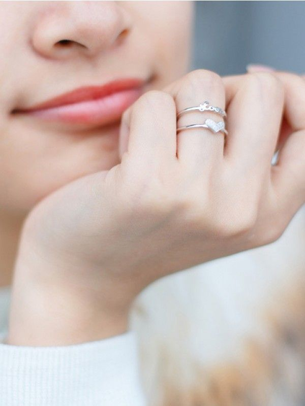 Silver Love Heart Adjustable AD Dual Ring