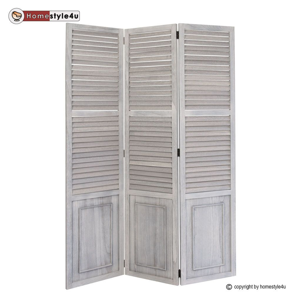 3 Fach Paravent Raumteiler Holz Trennwand Spanische Wand Sichtschutz Grau  In Möbel U0026 Wohnen, Dekoration