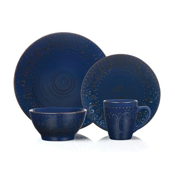 16 Piece Round Stoneware Dinnerware Set Distressed Dark Blue Lorren Home Trends  sc 1 st  Pinterest & 16 Piece Round Stoneware Dinnerware Set Distressed Dark Blue Lorren ...