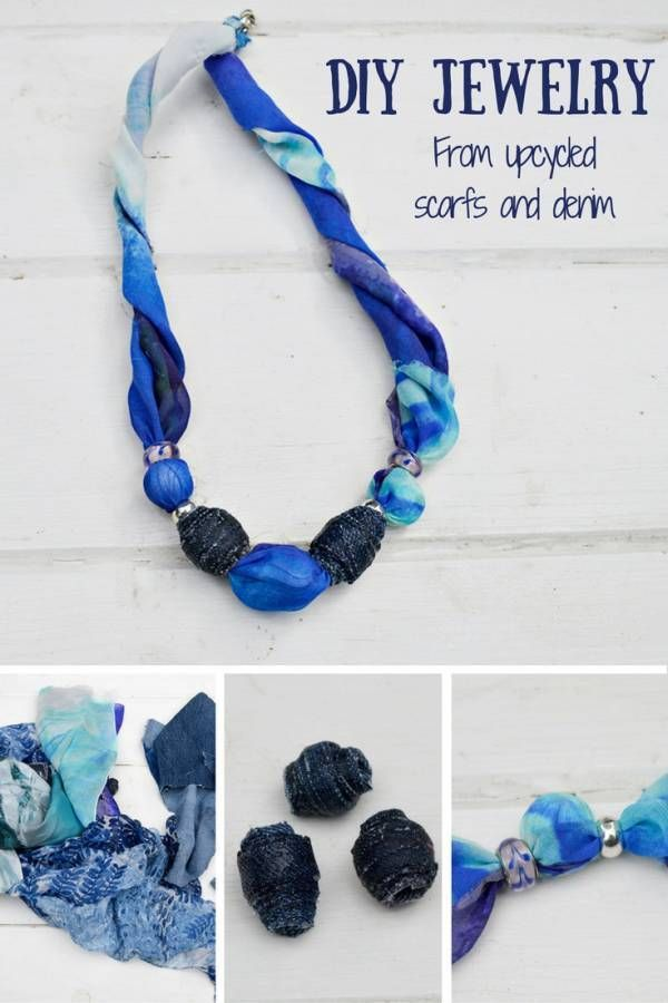Jewelry making doesn't always have to be a completely new piece to wear. Why not upcycle some of your old wardrobe pieces to make something new to enjoy? This necklace is made from an old scarf and de