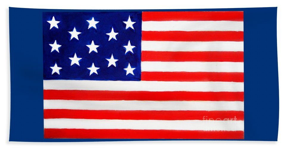 Historical American Flag With 13 Stars Beach Towel For Sale By