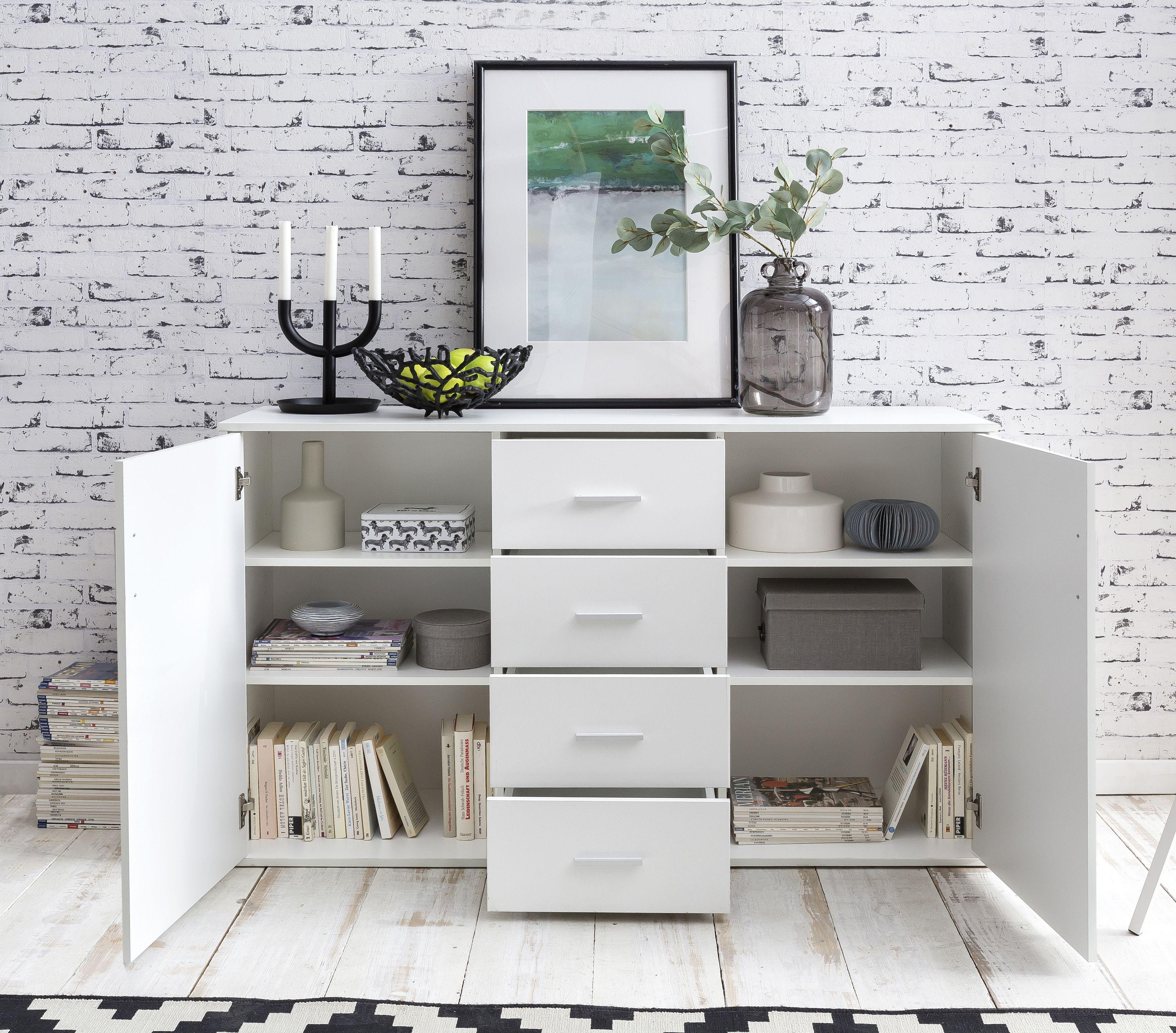 Wohnling Sideboard 138x82 5 Cm Weiß Wl5 880 Aus