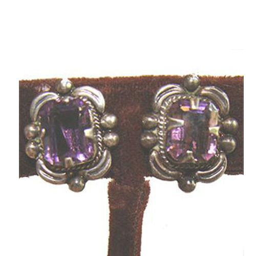 Taxco 1950s Morales Medrano Vintage Silver Earrings Purple Glass Stone #MoralesMedranoTaxco