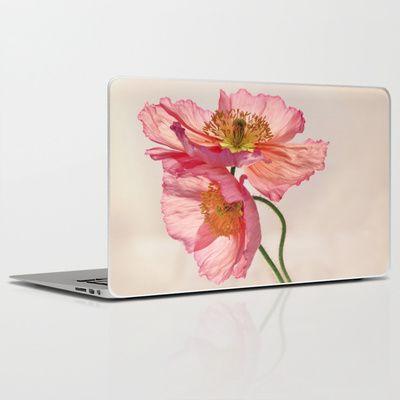 Like Light through Silk - peach / pink translucent poppy floral Laptop & iPad Skin by micklyn - $30.00 #Micklyn