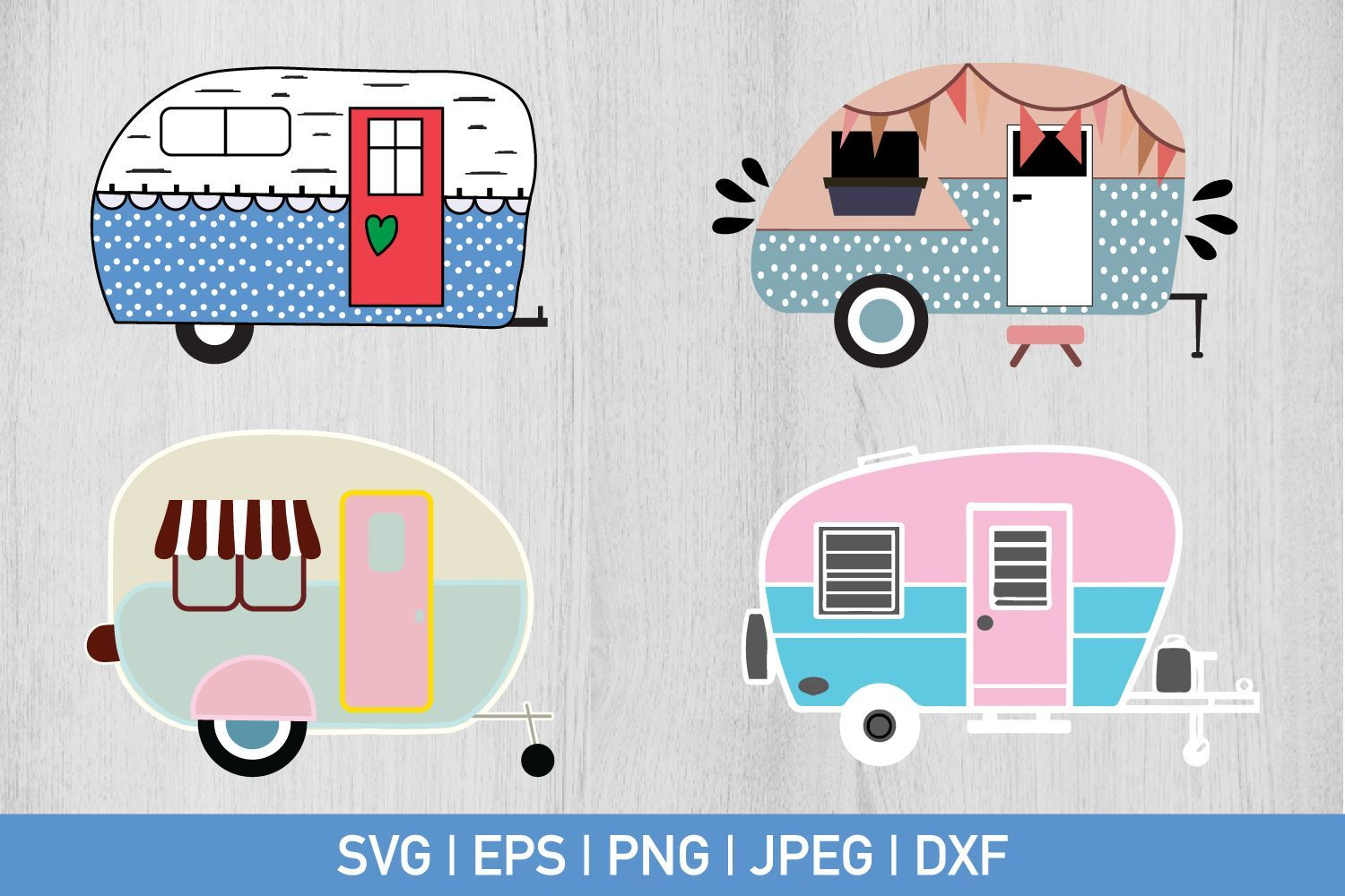 Camper Bundle Graphic by CrazyPandaSvg - Creative Fabrica #programingsoftware Can be used with the Silhouette cutting machines, Cricut, or other program/software that accept these files. - After purchasing you... #programingsoftware