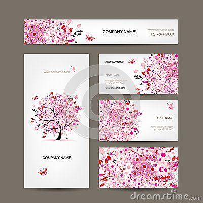 Conception De Cartes Visite Professionnelle Avec Le Rose Floral D Arbre