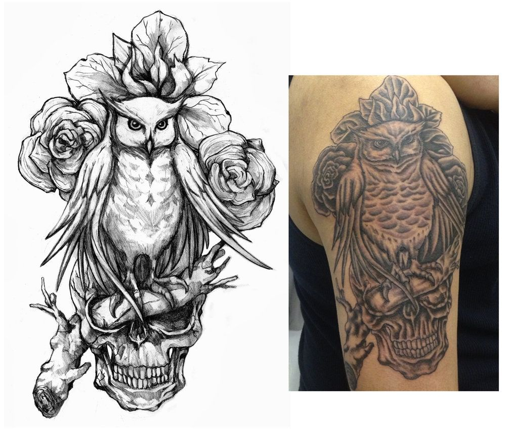Evil Owl Tattoo Flash Family Values Owl And Skull Tattoo Designs Owl Tattoo Design Owl Tattoo Owl Feather Tattoos