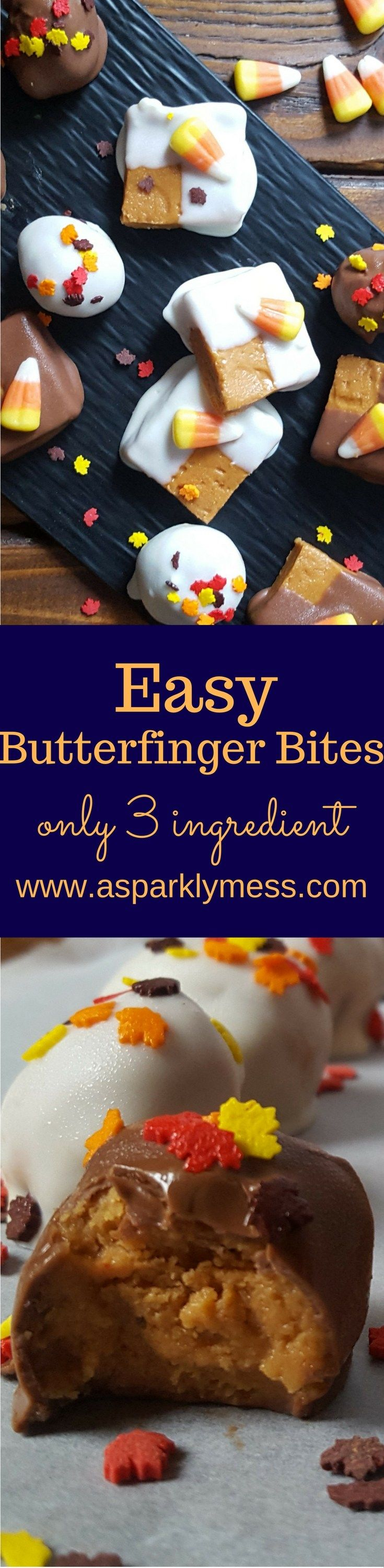These Easy Butterfinger Bites are truly easy to make. And sooo delicious! The Butterfinger flavor is perfect, although they lack the crunch from the original candy bar. I'm not complaining. I had to bring most of these to work to avoid excessive pigging out. Truly addictive fudge like texture. I can barley believe that they are made with just peanut butter and candy corn