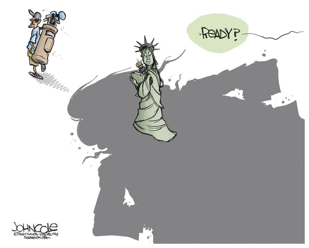 Political Cartoon U S Lady Liberty Ready For Trump