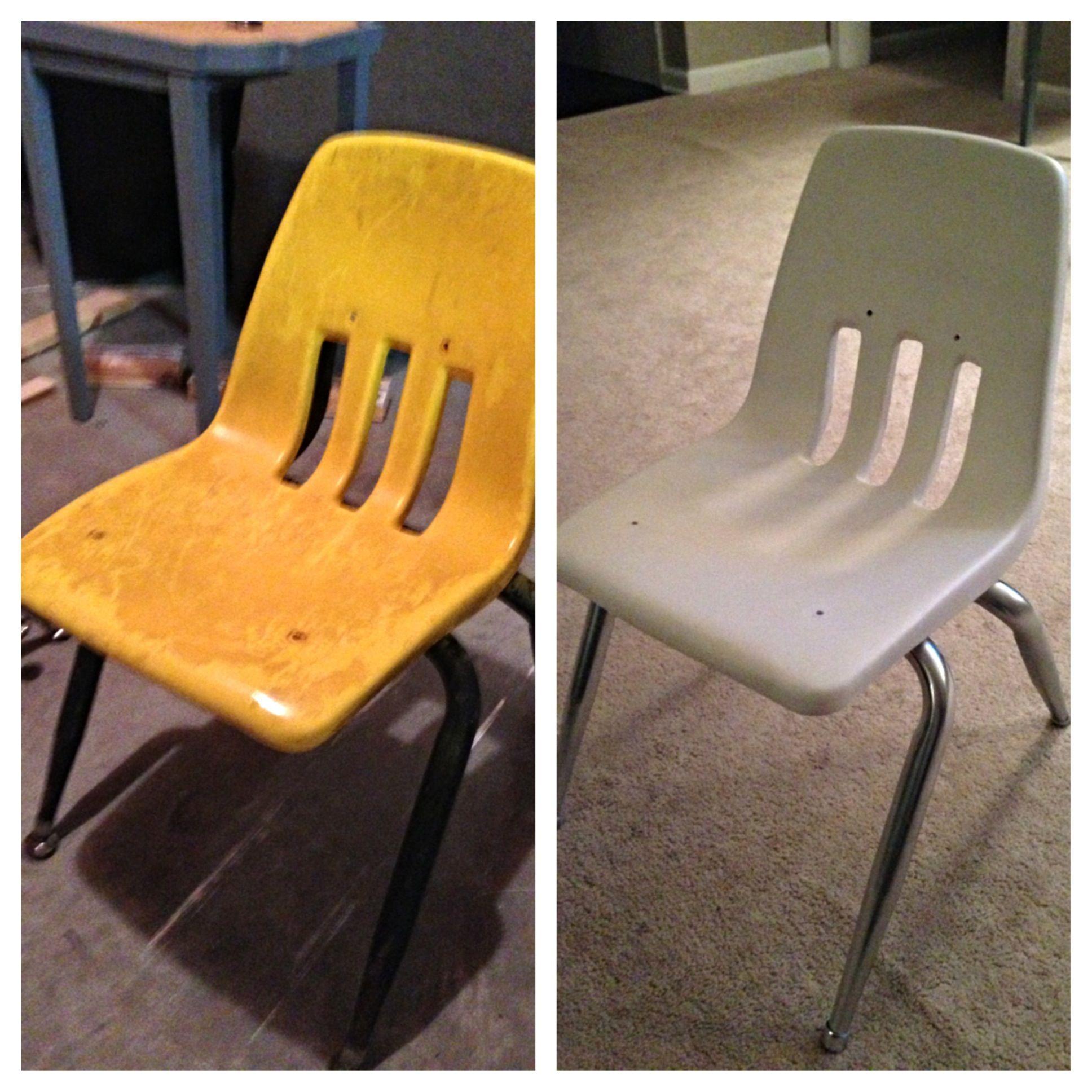 Vintage School Chair Makeover: Krylon Plastic paint Krylon ...