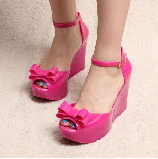 edc8afdf6173 Gladiator style fashion women shoes ultra high heels open toe jelly sandals  plastic bow wedges shoes  28.15