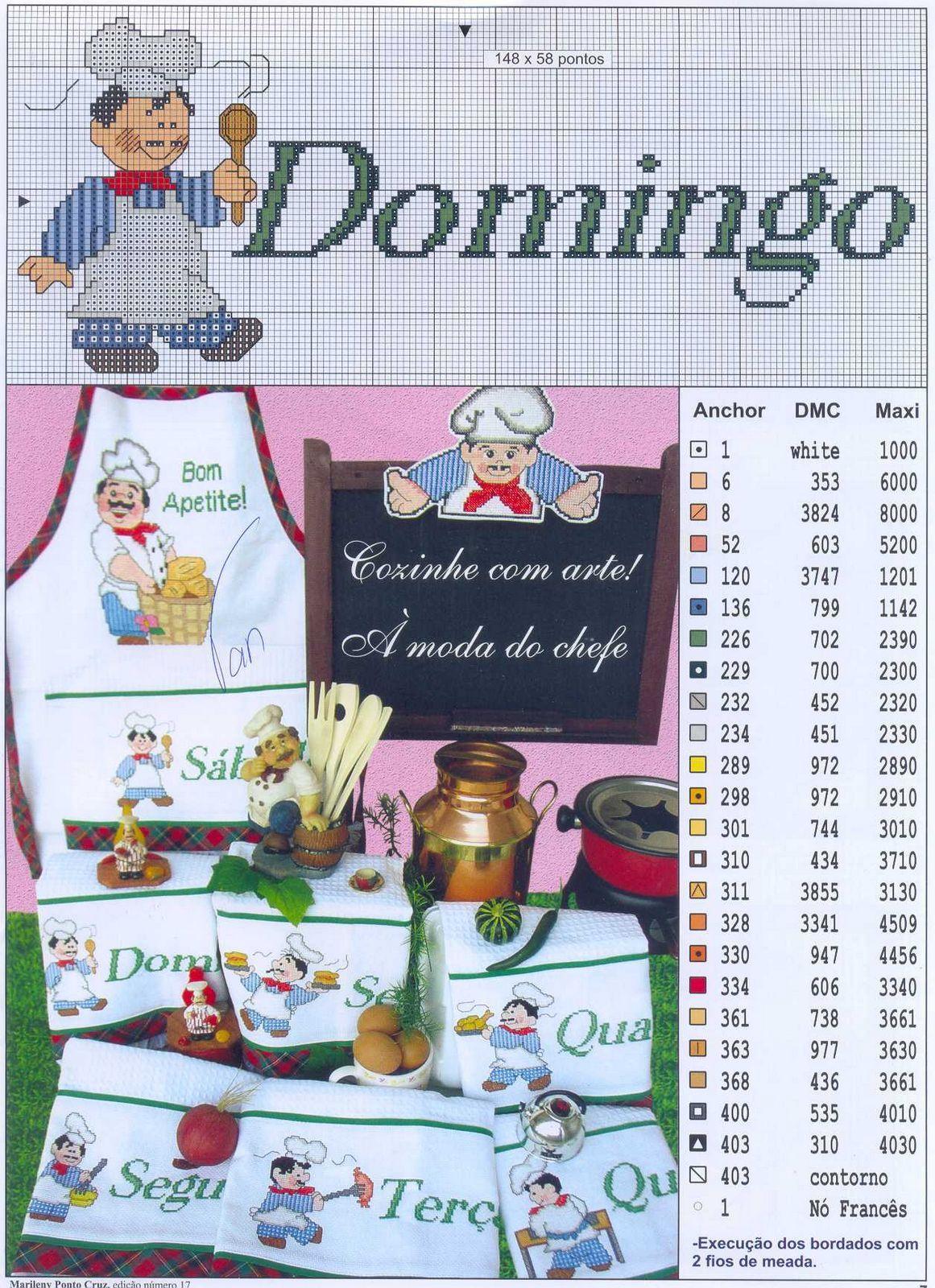 Ponto cruz e crochê...Made in Portugal: Semaninha Cozinheiro Ponto ...