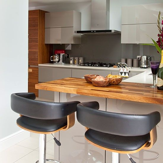 Modern Kitchen With Oak Breakfast Bar