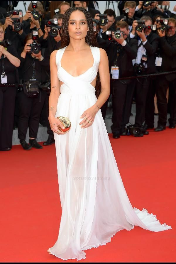 c3ce5a7e7b On Sale Easy Dress Red Zoe Kravitz White Deep Plunge Cutout Sexy Prom Dress  2018 Cannes Film Festival Red Carpet Prom Dress White
