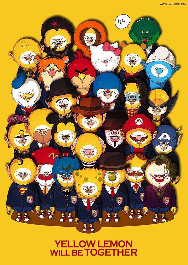 """ilustrador koreanoSakiroo Choi quién desarrolló bajo su propio estilo gráfico una suerte de """"year book"""" o """"anuario escolar"""" de algunos de los personajes mas famosos del mundo"""