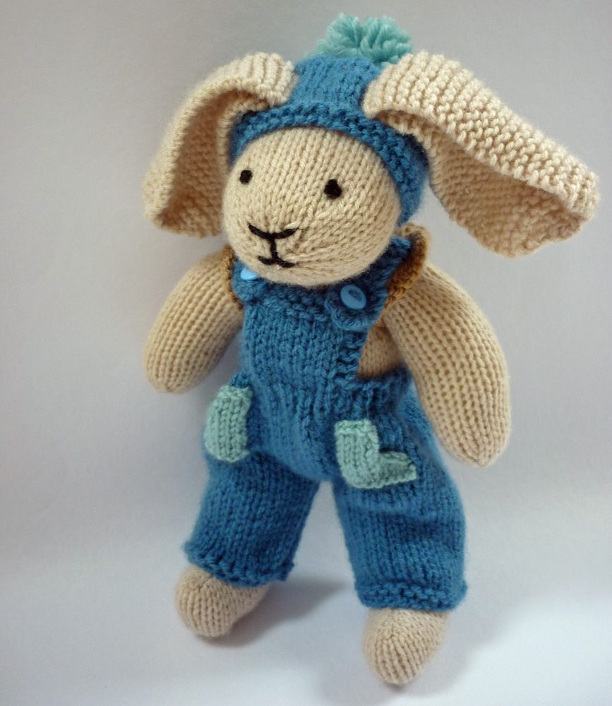 Free knitting patterns toys free knitting pattern for rabbit mack and mabel free knitting pattern for rabbit or bear trousers hat backpack bankloansurffo Choice Image