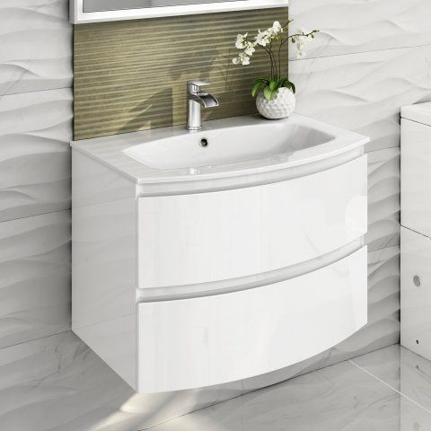 700mm Amelie High Gloss White Curved Vanity Unit Wall Hung Wall Hung Vanity Vanity Units Bathroom Layout