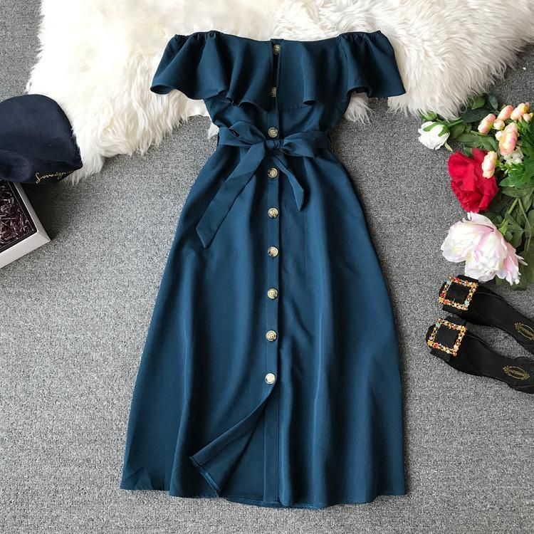 Summer Bandage Dresses Women New Short Sleeve Off Shoulder Sexy Beach Casual Dress Female Slash Neck Single Breasted Long Robe
