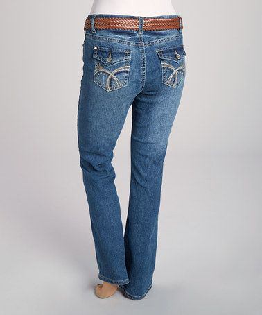 Another great find on #zulily! Sandblast Blue Belted Bootcut Jeans - Plus #zulilyfinds