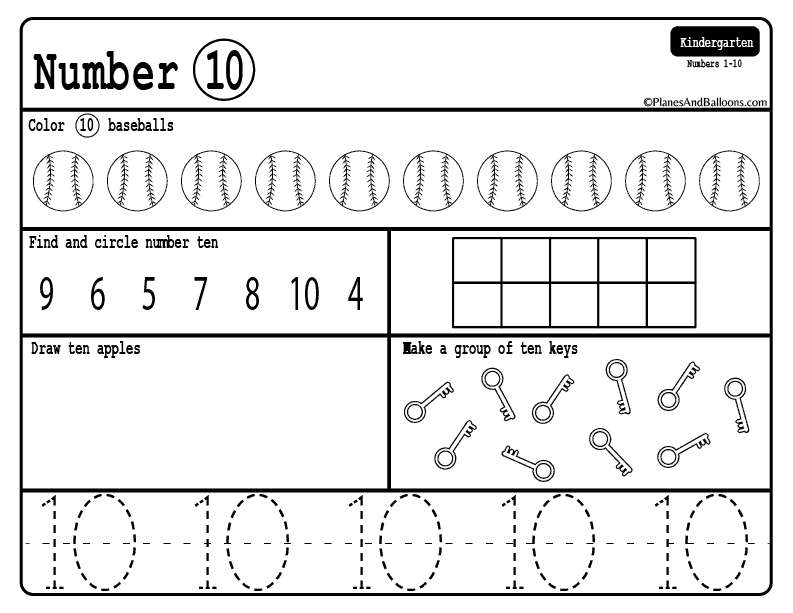 Counting To 10 Number Worksheets For Kindergarten Kindergarten Math Worksheets Free Kindergarten Math Free Kindergarten Math Worksheets
