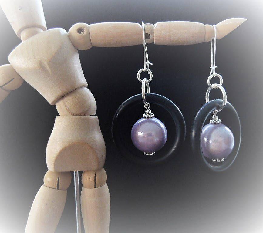Dangle Earrings Black Rubber Rings Lavender Large Miracle Beads ...