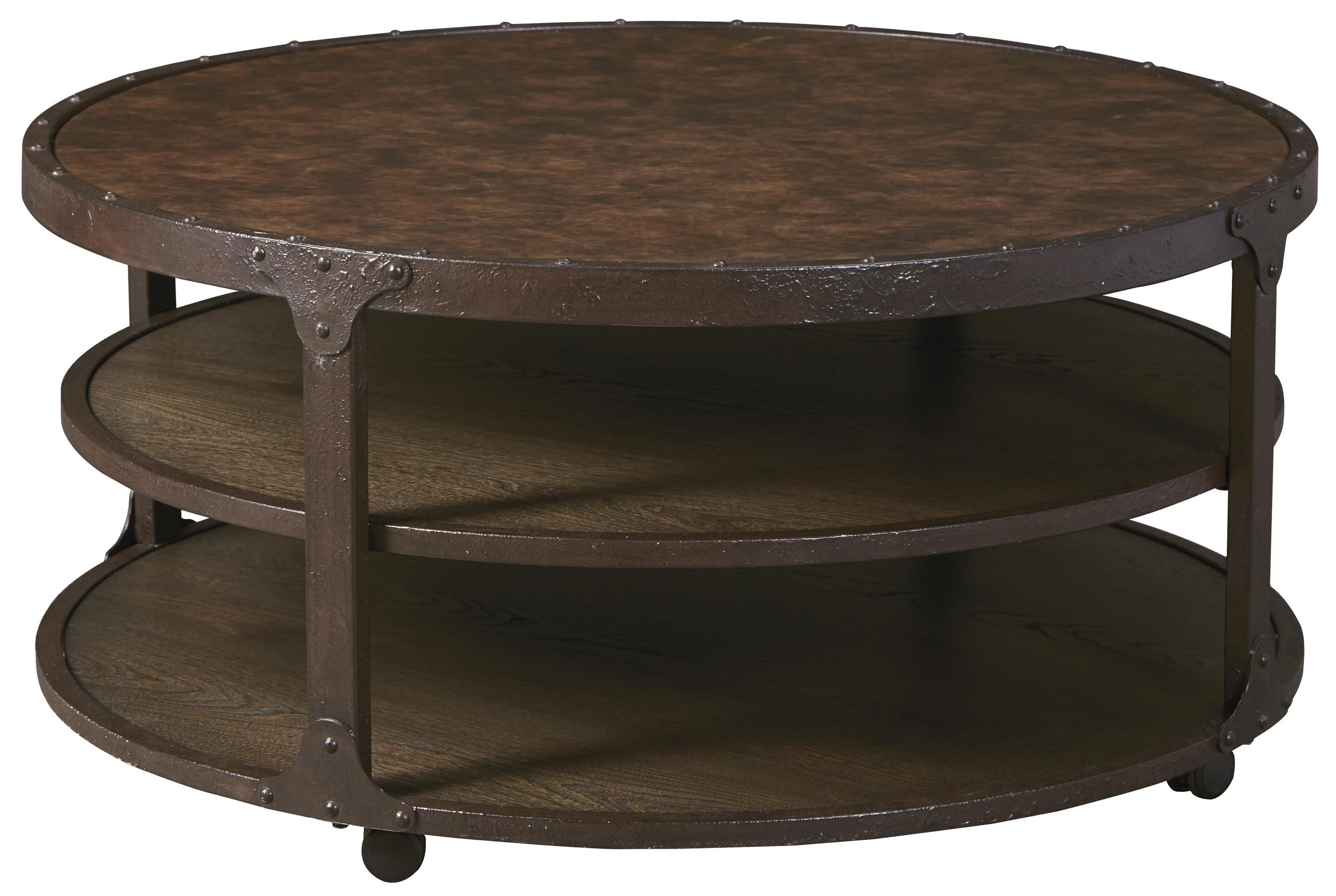 Shofern Round Cocktail Table By Signature Design By Ashley Round Coffee Table Coffee Table Industrial Coffee Table [ 1919 x 2860 Pixel ]