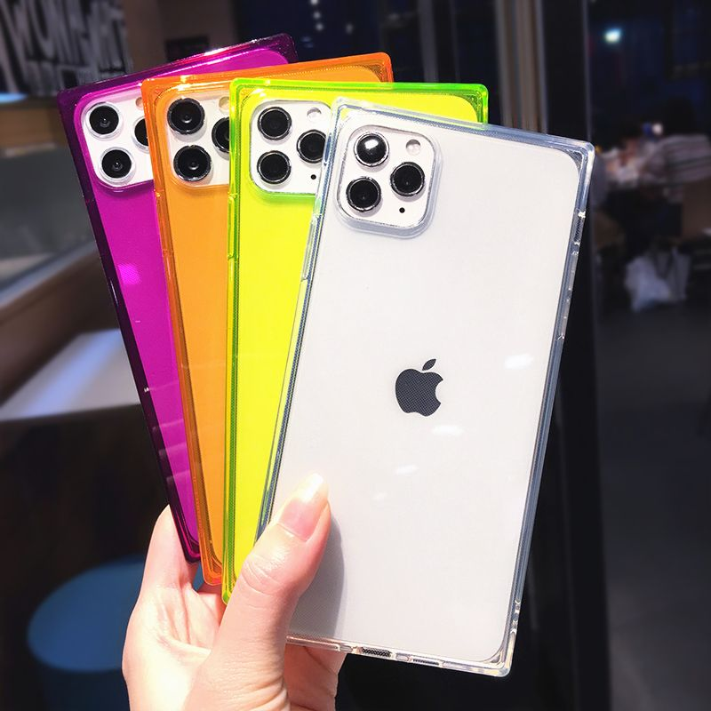Square Fluorescent Color Transparent Phone Case For Iphone 11 Pro Max X Xs Max Xr X 7 8 Plus 6 6s Clear Soft Tpu Sil Iphone Transparent Phone Case Iphone Cases