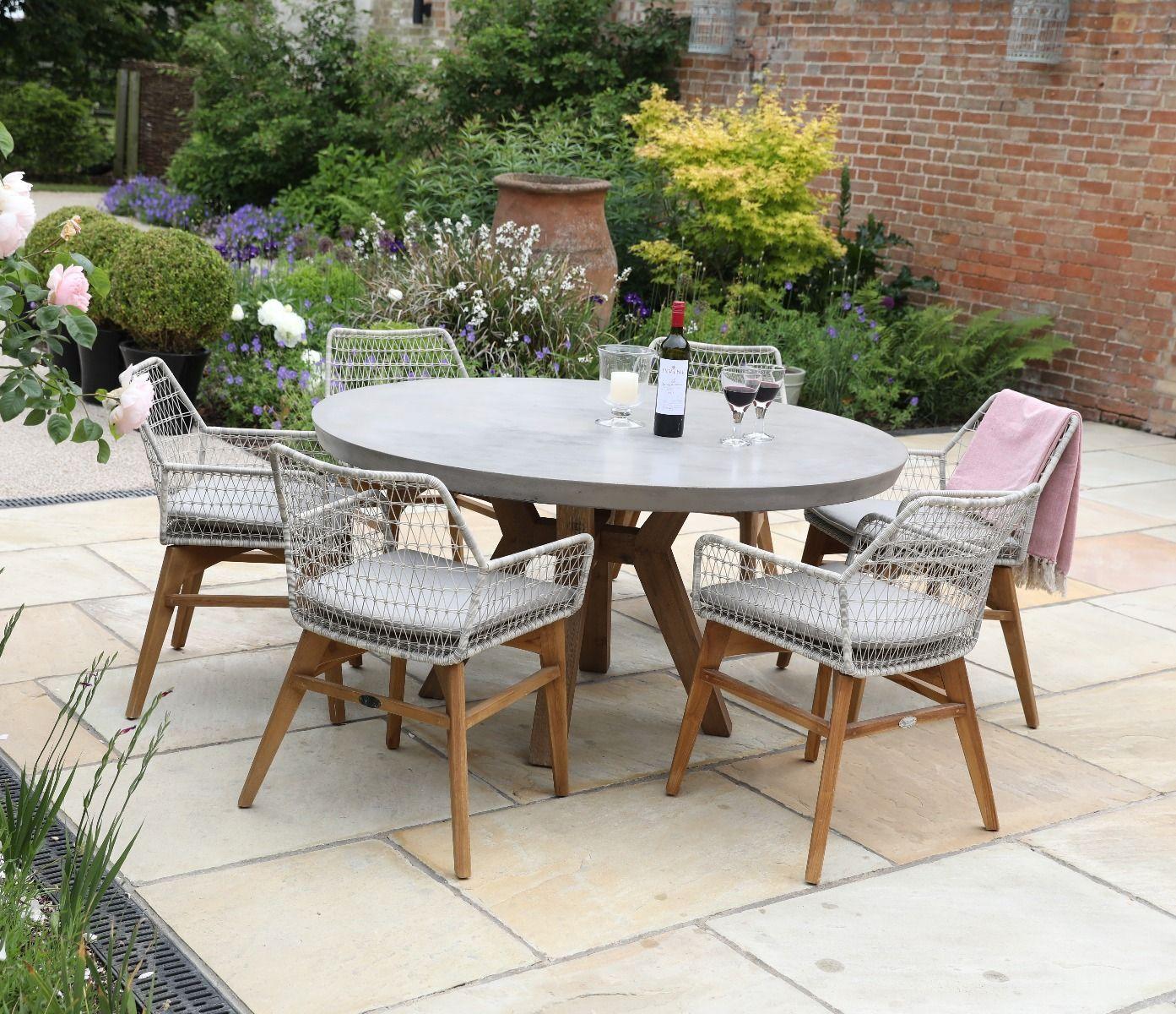 Roma Polished Round Concrete Table 150cm Garden Furniture