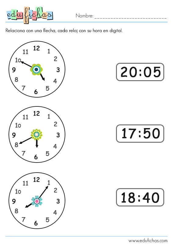 Aprender Las Horas Fichas Con Relojes Para Niños Aprender La Hora Cuaderno De Lectoescritura Reloj Para Niños