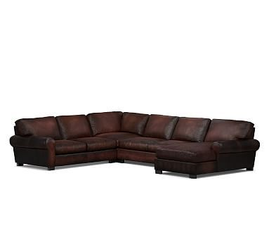 Turner Roll Arm Leather Left Arm 4 Piece Chaise Sectional