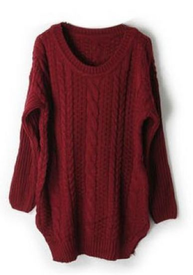 Dark Red Long Sleeve Cable Chunky Split Sweater pictures | Sa Sa ...