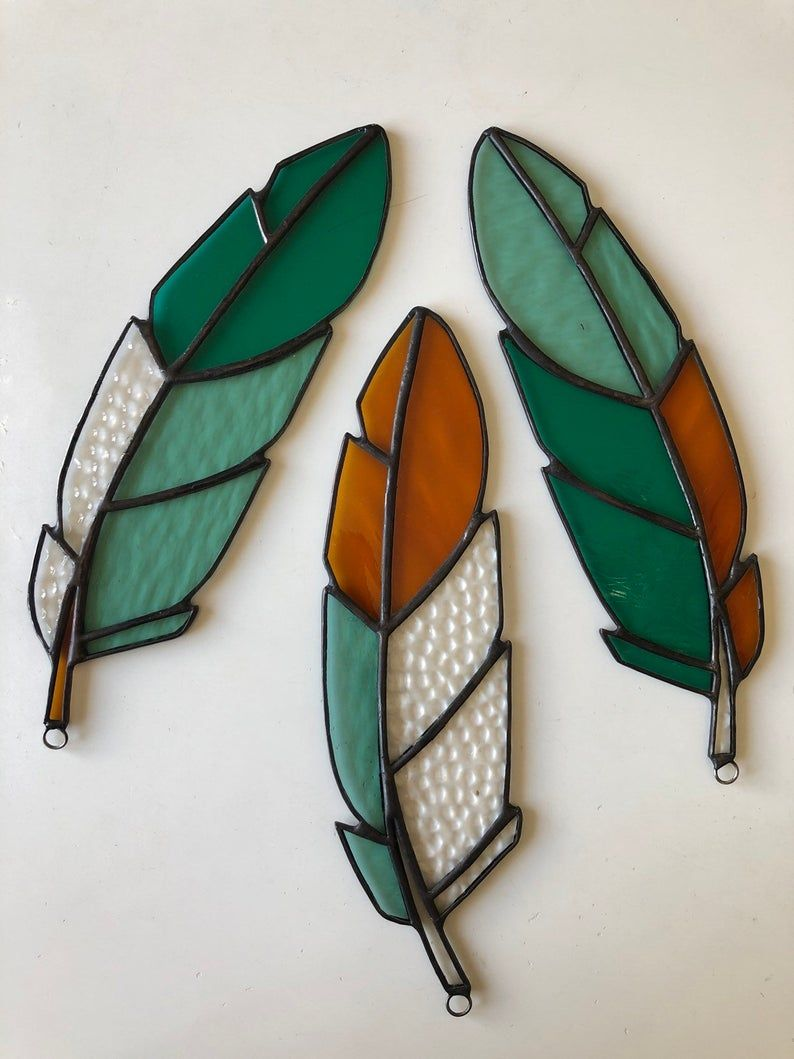 Stained Glass Feather Suncatcher Made to Order
